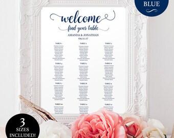 Printable wedding seating chart for reception - Reception Seating Chart - Downloadable Navy & White wedding seating chart  #WDH0017