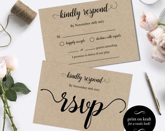 Wedding RSVP postcards templates -  rsvp cards wedding - diy wedding rsvp postcard template - Instant download wedding  #WDH0035