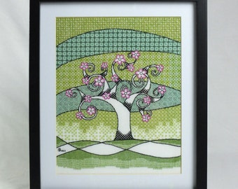 Spring Tree Blackwork Embroidery Kit