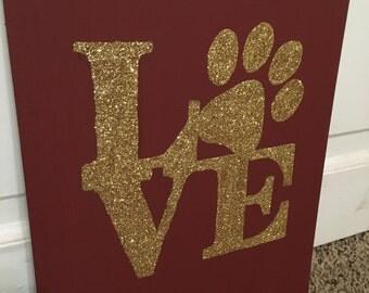 Love Glitter Art Pawprint