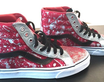Custom Hand Painted Vans Shoes Red Glitter Metallic Paint Splatter Silver Black