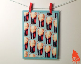 Root Beer Float Pattern Greeting Card