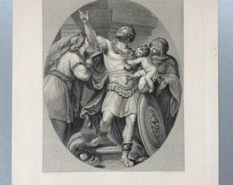 c1860 Original Antique SHAKESPEARE ENGRAVING, from Troilus & Cressida
