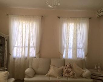 Chiffon and lace curtain