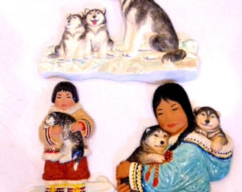 Vintage - Nori Peter decoration plaques.  Collectible item - 3 in lot (about 10-12 inches each)
