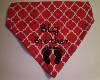 Big Brother, Dog Bandana Gender Reveal, Pregnancy Announcement,  New Baby, Dog Lovers Gift, Over the Collar, Photo Shoot, Pet baby gift