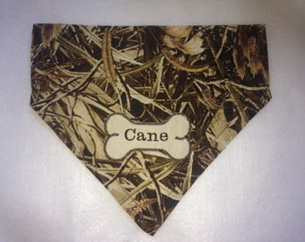Camo, Dog Bandana, Camo, Grassy Monogram, Duck Hunting, Pet scarf, dog collar,  photo shoot,  Over the Collar, Dog Gift