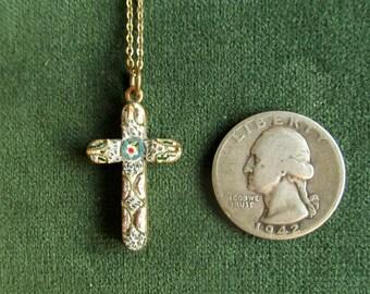 Small, Delicate, Millefiori, Italian Cross Pendant with chain