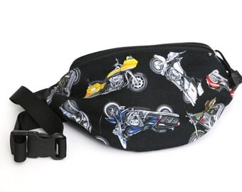 Motorcycle fabric Fanny Pack - Hip Waist Bag with 2-zippered compartments