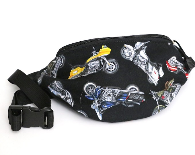 Fanny pack Motorcycle fabric  - Hip Waist Bag with 2-zippered compartments