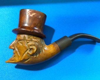 Vintage Genuine Wood Carved Italy Abe Lincoln With Hat Briar Pipe