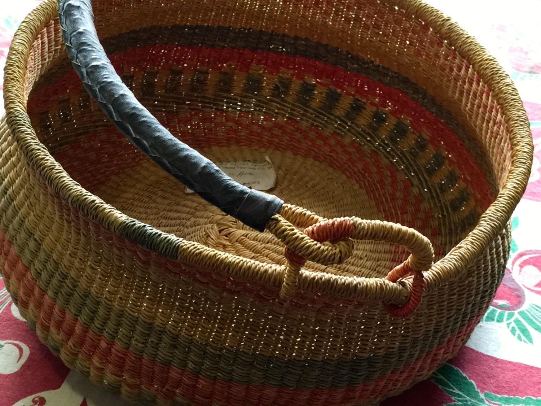 Handmade Ghana Baskets : Vintage handmade large blessing basket made in ghana with