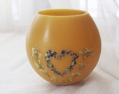 Beeswax luminary-Heart decor-pressed flower candle-heart gifts-heart shaped art-beeswax candles