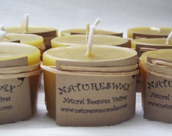 Mini Beeswax Votives, Small Beeswax Candles, Colorado Candles, Slow Burning Candles,Natural Votive Gift,Natures Wax Candles,Bees Wax Votive