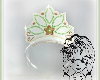 Princess CRoWN FROG Green Lily Princess ~ In The Hoop Headband ~ Downloadable DiGiTaL Machine Embroidery Design by Carrie