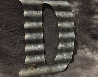 D - Vintage Antique Roofing Tin Letter D by JunkFX Free Shipping