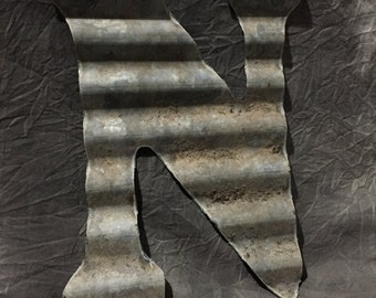 N - Recycled Antique Roofing Tin Letter by JunkFX