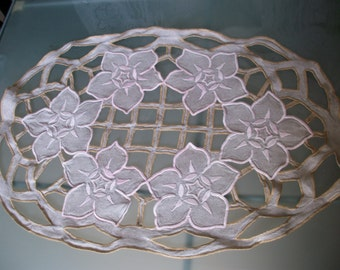 French Linen Embroidery Cutwork Oval Palest Pink Silk perfect for Cushion Pillow