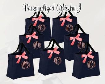 9 bridesmaid tote bags , bridesmaid gifts , tote bag , beach bag , bachelorette party gift ,wedding bag , maid of honor