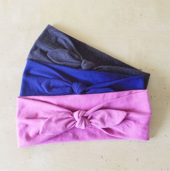 Headband set of 3 Cotton hair accessories retro bow style workout headbands yoga headbands jogging accessory boho gift choose your colors