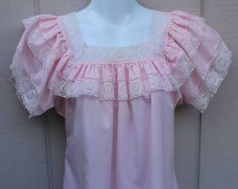 Vintage 70s Pink Rockabilly Swing Square Dance Peasant Blouse by Square Up / Top / sz Sml - Med