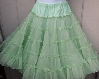 Vintage Pale Green Tier RUFFLE Petticoat crinoline SLIP Tutu Skirt / Can Can - New Wave madonna // Ladies size Med - Lge - XL