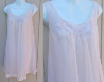 Vintage 60s Pink Double Nylon Chiffon Nightgown by Shadowline / Babydoll Nightie / Sml - Med