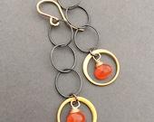 Flamethrower, Carnelian, 14k Gold Fill, 24k Gold Vermeil, Oxidized Sterling Silver Earrings, erinelizabeth