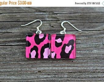 SALE REDUCED Pink and Black Animal Print Glass Tile Earrings
