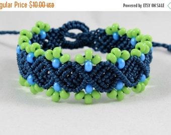 SALE Micro-Macrame Beaded Bracelet - Blue and Green
