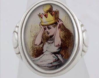 Alice Crown Wonderland Sterling Silver Ring (Sizes 5-10 w/ half sizes)