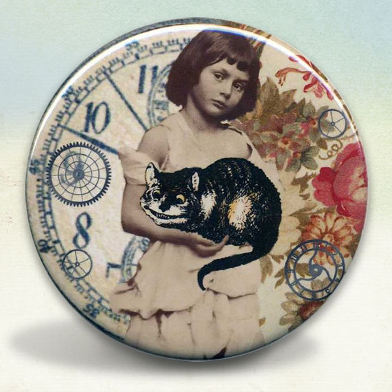Alice Liddell and The Cheshire Cat Pocket Mirror