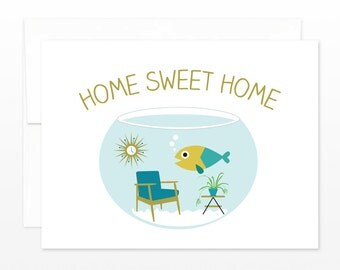 Funny New Home Fishbowl Card, New Apartment Greeting Card - Home Sweet Home Card - New Place Card - Congratulations Card, Moving Card