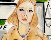 """MARGOT TENENBAUM The Royal Tenenbaums Archival Art Print Watercolor Gouache Painting Wes Anderson 8.5inx11"""""""