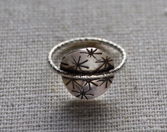 Starburst ring in sterling silver