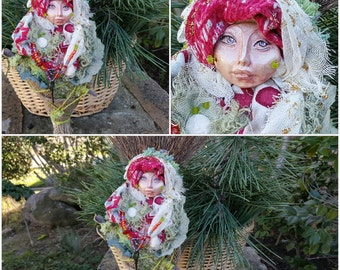 Bohemian Spirit, Garden Goddess, Spirit Art Doll, Doula companion, Equinox Nesting Moon, Wall Decoration, ooak art doll, bridal shower gift