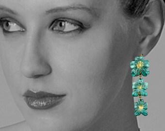 Handmade Verdigris Patina Earrings Flower Earrings Boho Earrings Rustic Earrings