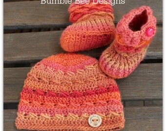 Baby Beanie - Baby Hat - Baby Booties – Wool Baby Shoes - Rainbow Baby Booties  - Cap - Baby Booties - Crochet Baby Booties & Hat - Beanie