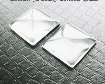 Square glass cabochon, Glass seals, 20 pcs 1 inch 25mm Diameter Clear Domed Glass Cabochons, flat back for bottle caps, magnets, key rings
