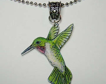 Handcrafted Plastic Hummingbird Necklace Pendant