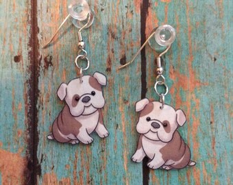 Handcrafted Plastic Chubby Cheeked Bulldog Puppy Earrings