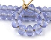 Transparent Dark Lavender Spacers - Handmade Artisan Lampwork Glass Beads 5mmx9mm - SRA (Set of 10 Spacer Beads)