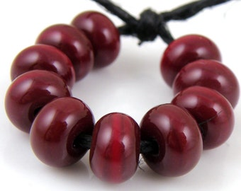 432 Candy Apple Red Spacers - Handmade Artisan Lampwork Glass Beads - 5mmx9mm SRA (Set of 10 Spacer Beads)
