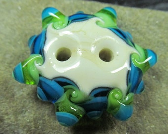 Lime, aqua and ivory stacked dot lampwork button bead