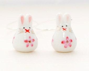 White Rabbit Earrings Itsy Bitsy Bunny - Kawaii Bunny Earrings - Rabbit Jewelry - Bunny Rabbit Inspired