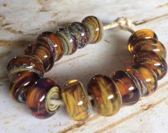 Silvered Amber Lampwork Spacer Bead Set