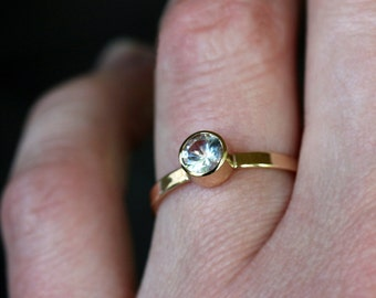 White Sapphire Ring, Alternative Engagement Ring, 14k Yellow Gold Band, Diamond Alternative, Gold Sapphire Ring, Recycled Gold Ring