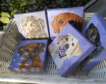Pet Portrait Painting 4 x 4 with easel, Valentines Gift Sale