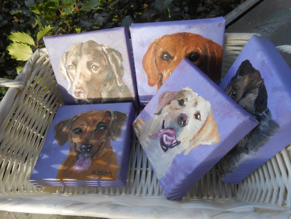 Tiny Custom Pet Portrait Oil Paintings