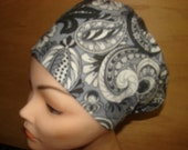 New Black and White Paisley Euro Style Medical Surgical Scrub Hat Vet Nurse Chemo